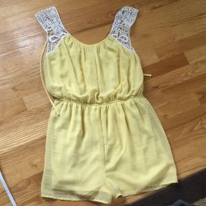 yellow charlotte russe romper with white lace